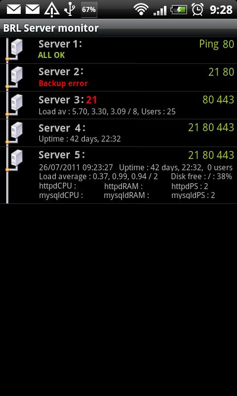 Servers monitor - screenshot
