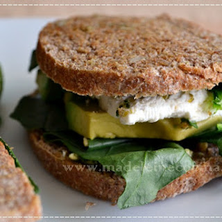 Spinach, Avocado, and Goat Cheese Sandwich.