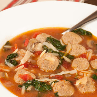 Chicken Meatball Soup with Orzo and Spinach.
