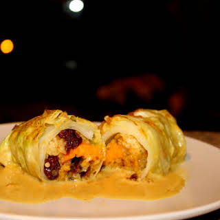 Coconut Curry Stuffed Cabbage Rolls.