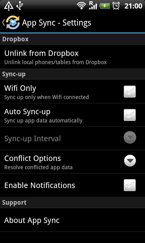 App Sync - screenshot