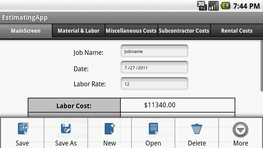 Construction Estimating App - screenshot