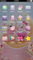 Cute Bear love  honey with Pink hearts DIY Theme APK screenshot thumbnail 2