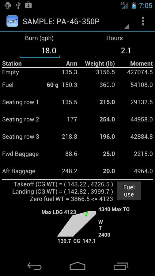 Aircraft Weight and Balance - screenshot