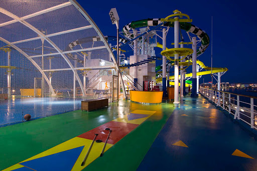 Carnival-Sunshine-WaterWorks-at-night - Take an evening spin on the WaterWorks waterslide aboard Carnival Sunshine.
