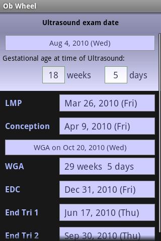 OB Wheel(Pregnancy calculator)- screenshot