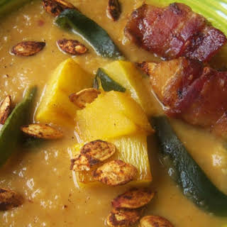 Roasted Pumpkin-Chipotle Soup with Bacon-Wrapped Scallops.