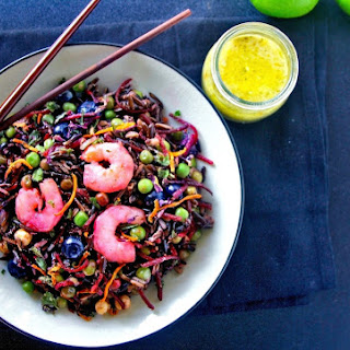 Zesty Beet and Black Rice Seafood Salad with Lemon Lime vinaigrette