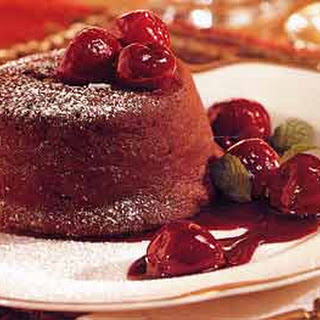 Molten Chocolate Cakes with Cherries.