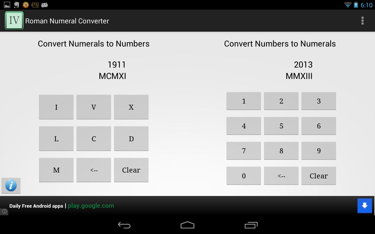 Roman numerals calculator - Roman Numeral Converter Screenshot