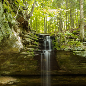 Tannery Falls by Jill Laudenslager - Landscapes Waterscapes ( michigan, waterscape, falls, waterfall, summer, nikon, pure michigan )