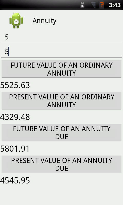 Annuity android apps on google play for Table 6 4 present value of an ordinary annuity of 1