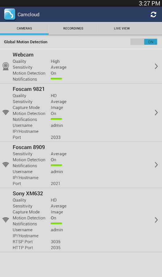 Camcloud- screenshot