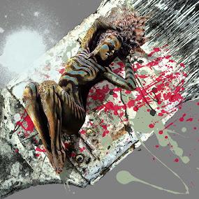 Splash by Felix M - Digital Art People ( graphic, sky blue, nude, beautiful, white, paint, beauty, brush,  )