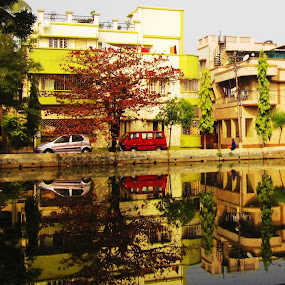 Mirror, Mirror,... by Bihong Kollogov - City,  Street & Park  Neighborhoods ( reflection, colourful, autumn, pond, neighbourhood,  )