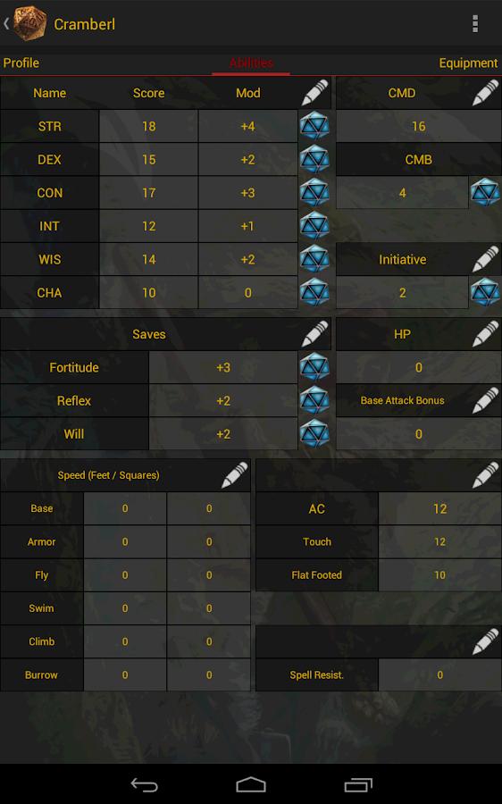 apk share: pathfinder character generator