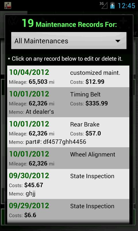 Car Maintenance Reminder Pro - screenshot