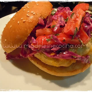 Chicken Hamburgers with Coleslaw.