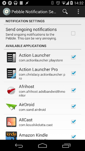 Pebble Notification Settings