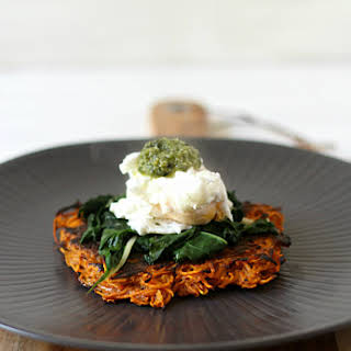 Sweet Potato Fritters With Garlicky Greens, Poached Eggs And Pesto.