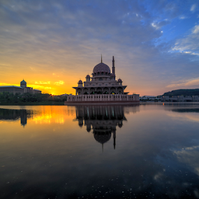 Blissful Sunrise at Putra Mosque by Nur Ismail Mohammed - Buildings & Architecture Places of Worship ( reflection, congregation, hdr, masjid, putrajaya, mosque, place of worship, lake, sunrise )