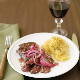 Skirt Steak with Pickled Onion and Spaghetti Squash.