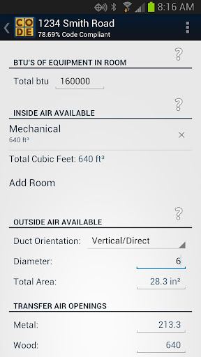 Combustion Air Calculator