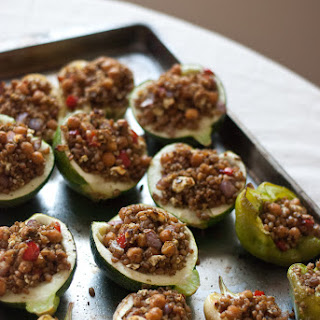 Stuffed Vegetables with Wheat Berries, Pesto and Chickpeas