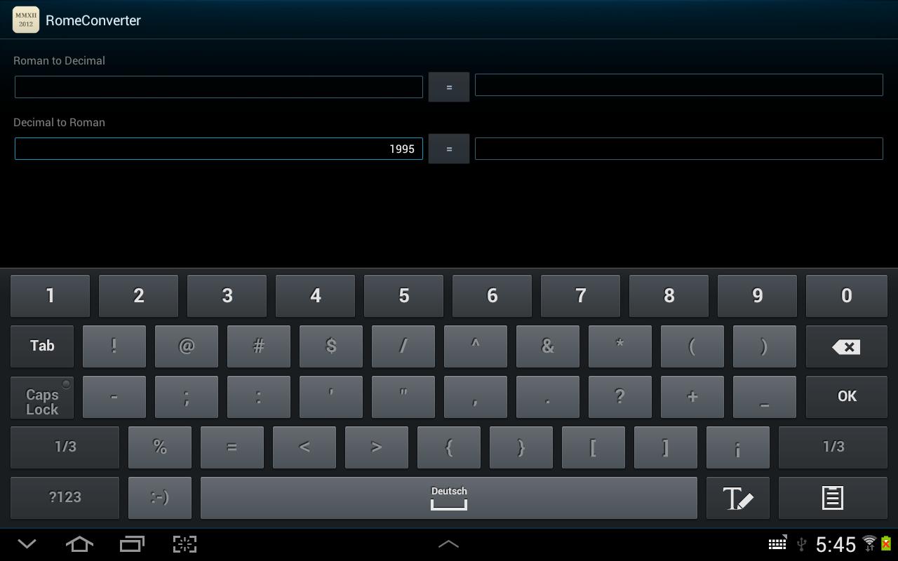 Roman Numeral Converter - screenshot