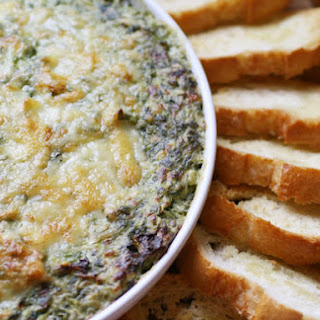Boursin and Gruyère Spinach and Artichoke Gratin Dip.