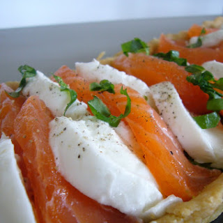 Salmon Mozzarella Basil Tart.