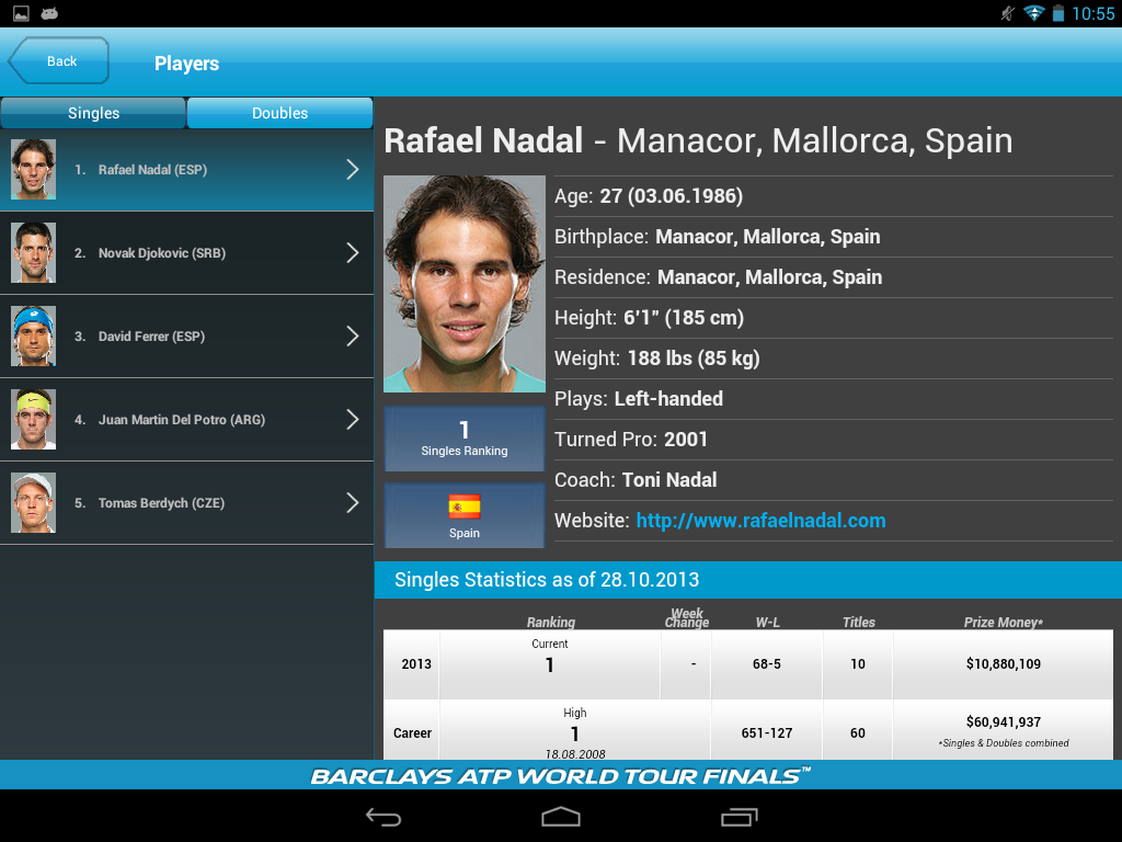 Barclays ATP World Tour Finals - screenshot