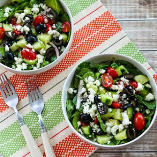 Spinach and Kale Salad with Greek Flavors and Feta-Lemon Vinaigrette.