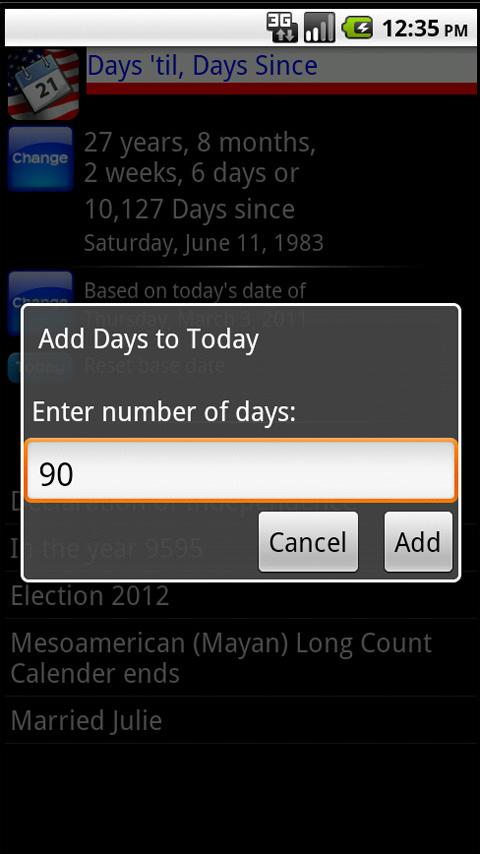 Days 'til, Days Since - screenshot