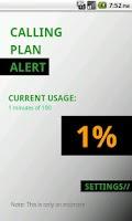 Screenshot of Calling Plan Alert Lite
