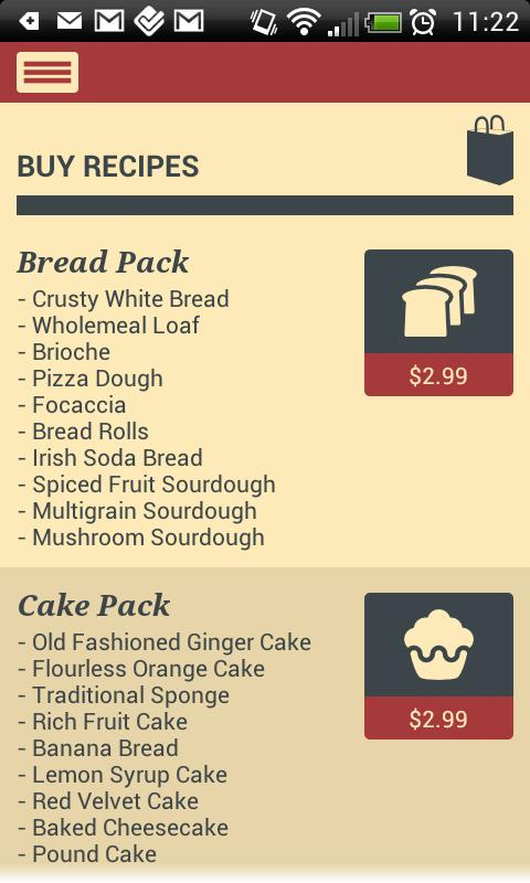 The Baker App - screenshot