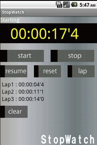 StopWatch Free- screenshot