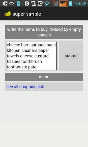super simple - shopping list