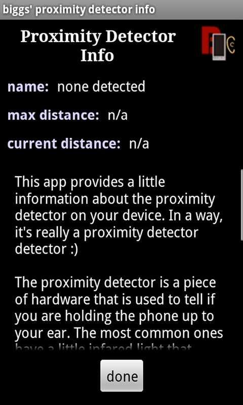 biggs' proximity detector info- screenshot