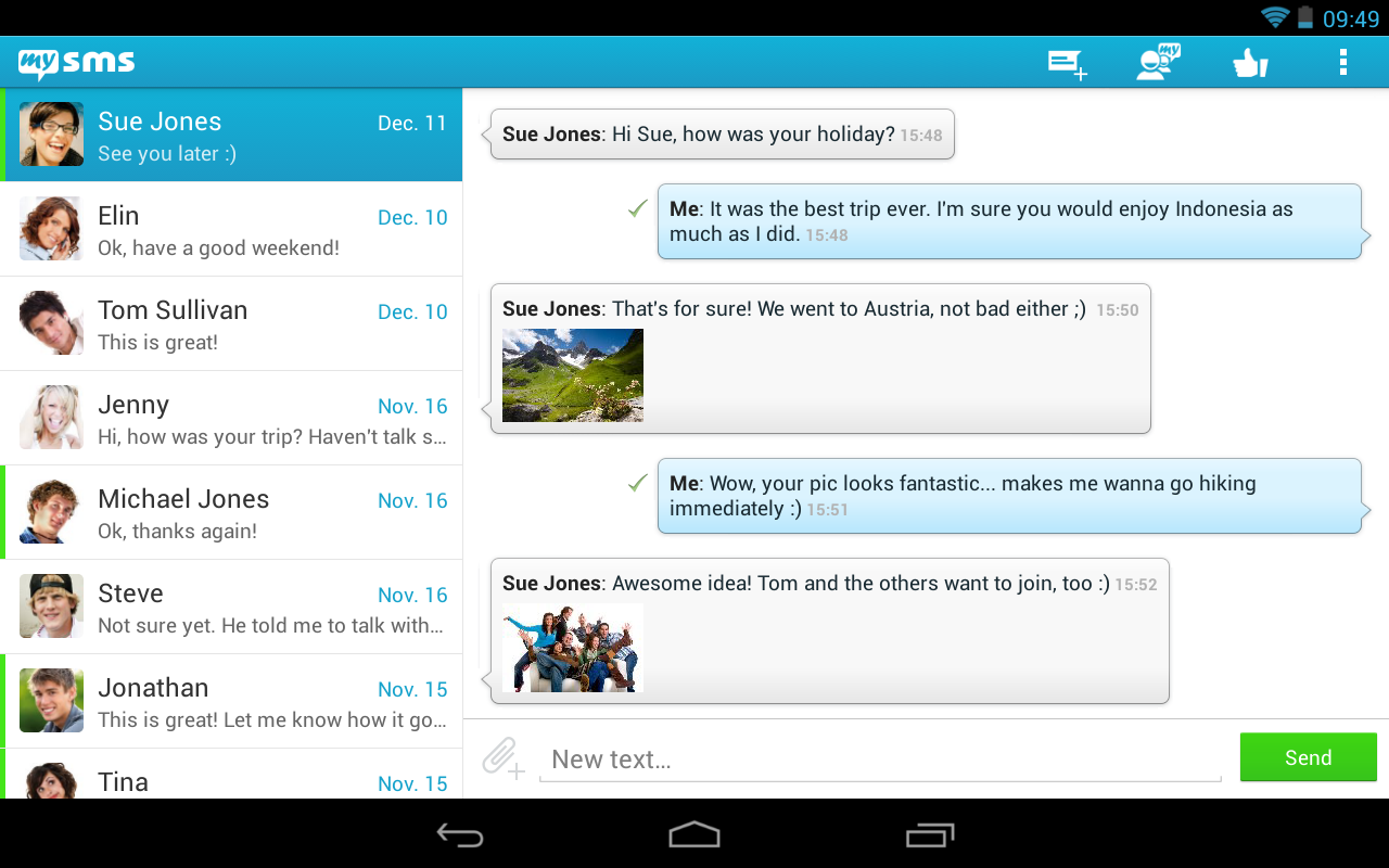 Free SMS Tablet Texting & Sync - screenshot