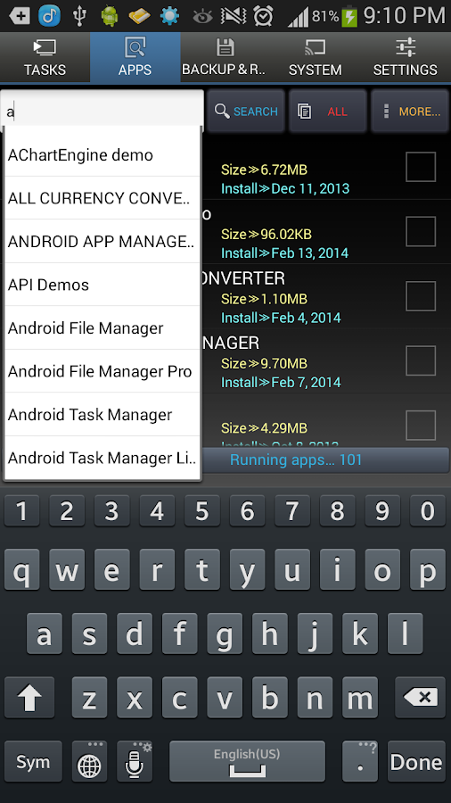 Android Task Manager - screenshot