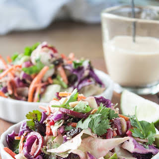 Crunchy Asian Slaw with Ginger-Tahini Dressing.