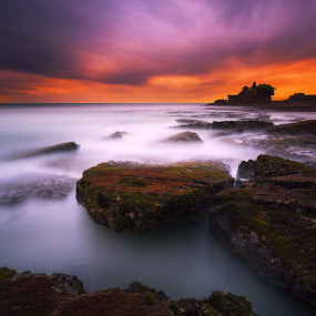 Cloudy Sunset in Tanah Lot Beach by Eggy Sayoga - Landscapes Beaches ( bali, sunset, moss, long exposure, rock, beach )