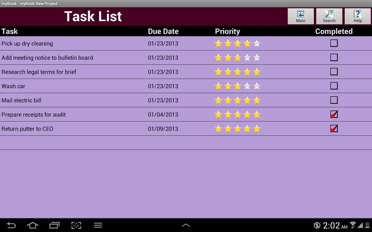 myBook Personal Organizer - screenshot