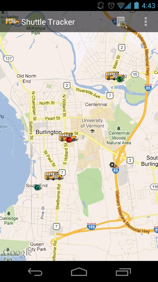 Champlain Shuttle Tracker- screenshot