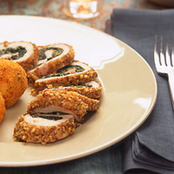 Walnut-Crusted Chicken with Spinach Stuffing Recipe