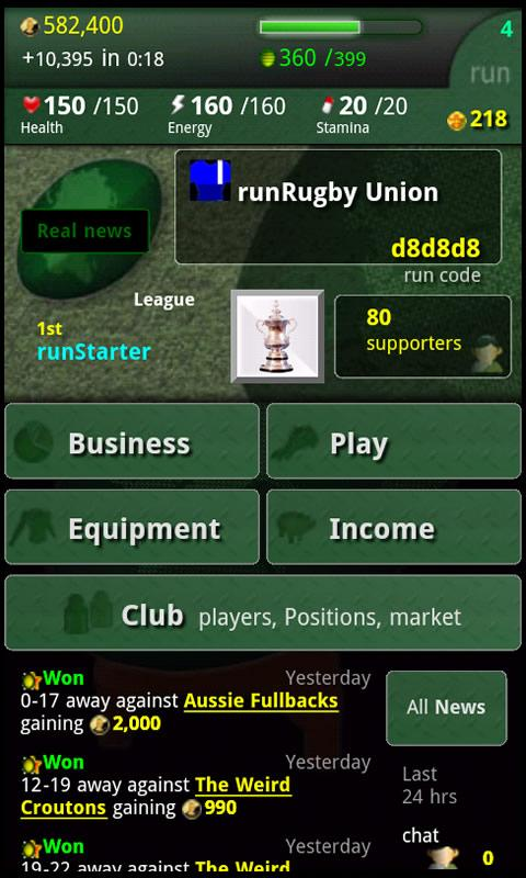 run Rugby Manager- screenshot