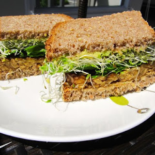 Tempeh Avocado Sprout Sandwich.