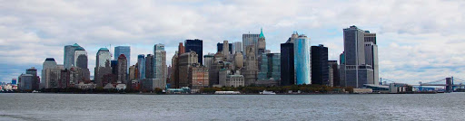 The skyline of lower Manhattan.