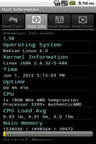 Gadmin for Webmin- screenshot